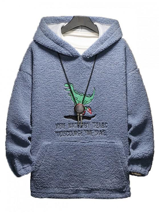 lady Cartoon Letter Embroidery Fluffy Hoodie - SLATE BLUE L