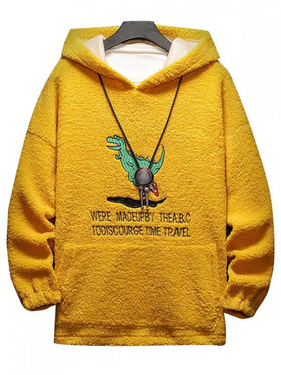 lady Cartoon Letter Embroidery Fluffy Hoodie - YELLOW 3XL