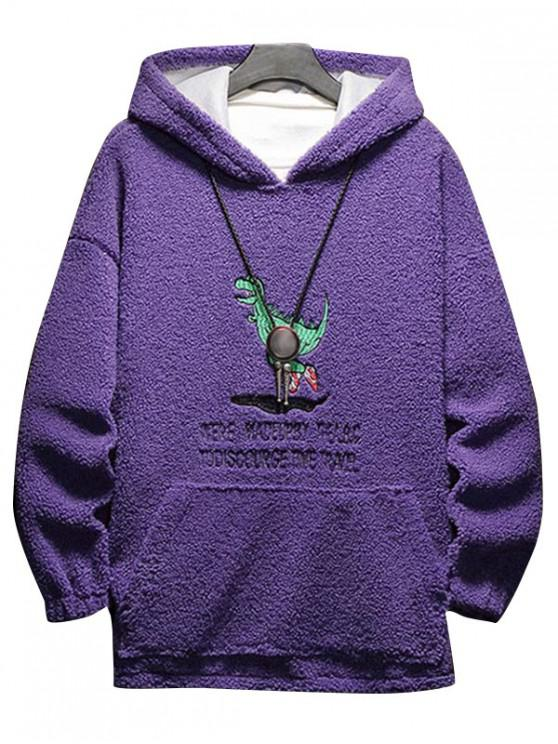 trendy Cartoon Letter Embroidery Fluffy Hoodie - PURPLE IRIS M