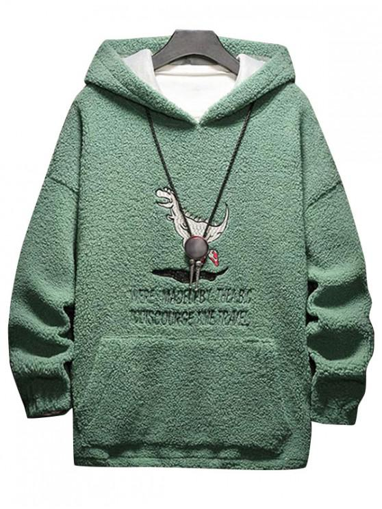 shop Cartoon Letter Embroidery Fluffy Hoodie - MEDIUM SEA GREEN 2XL