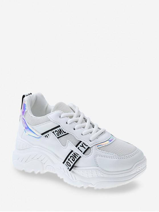lady Laser Panel Breathable Dad Sneakers - WHITE EU 35
