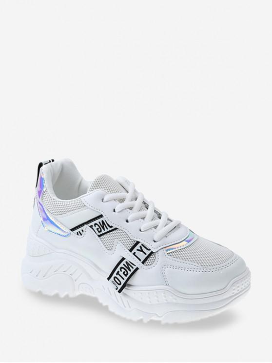 ليزر لوحة تنفس أبي حذاء رياضة - أبيض الاتحاد الأوروبي 35