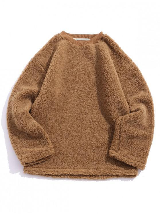women Casual Solid Color Fluffy Sweatshirt - BROWN XL