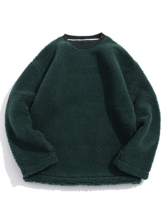 Casual Solid Culoare Pufos Sweatshirt - Deep Green L