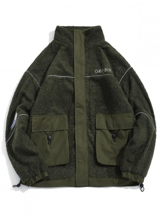 sale Letter Embroidered Pocket Fluffy Jacket - ARMY GREEN 2XL