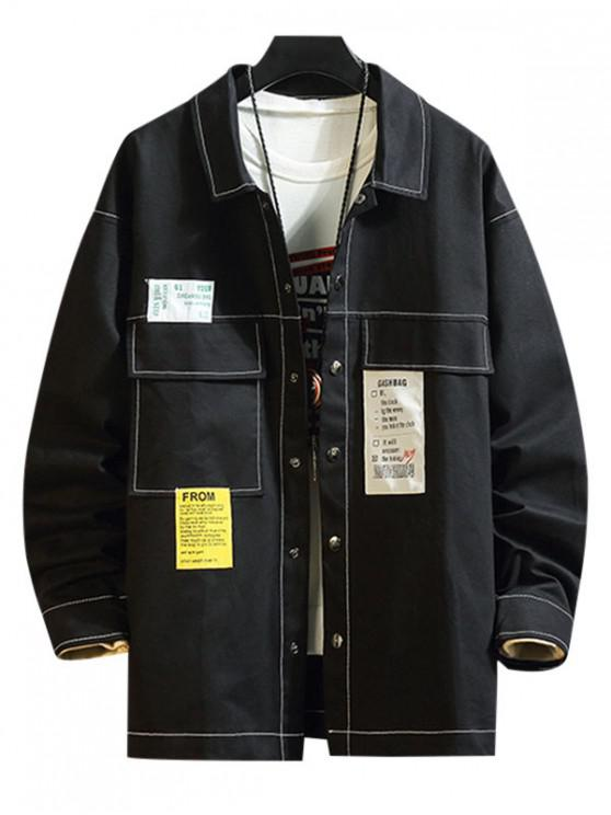 ladies Applique Stitching Flap Pocket Casual Jacket - BLACK L