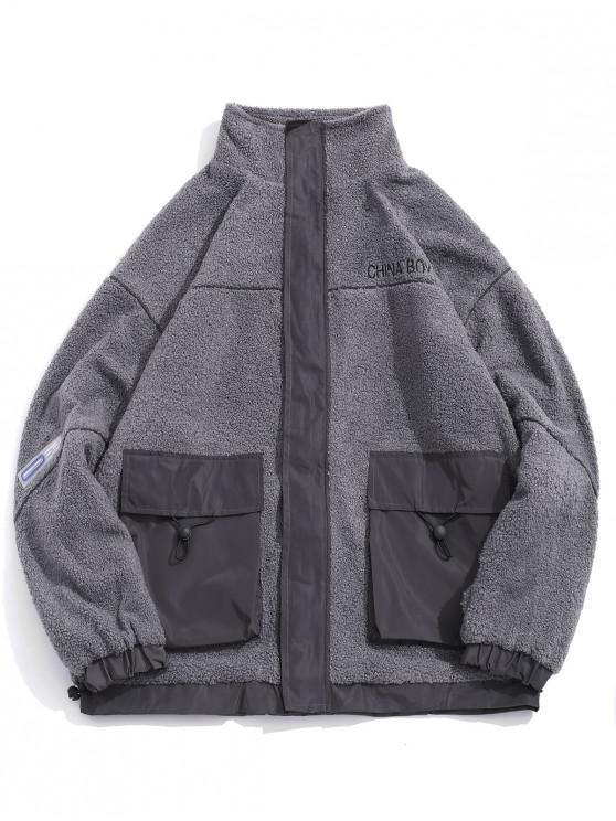 sale Letter Embroidered Pocket Fluffy Jacket - GRAY M