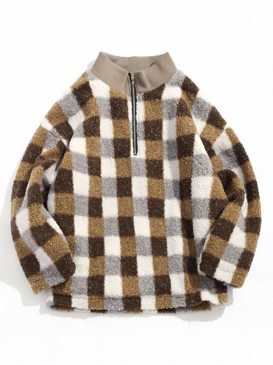womens Quarter Zipper Plaid Design Fluffy Jacket - CAMEL BROWN XL