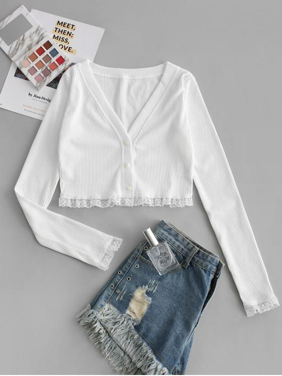 hot Ribbed Lace Insert Plunging Crop Cardigan - WHITE S