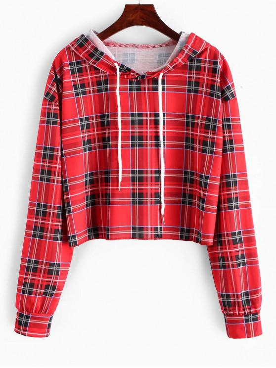 ladies Plaid Drawstring Drop Shoulder Hoodie - RED L