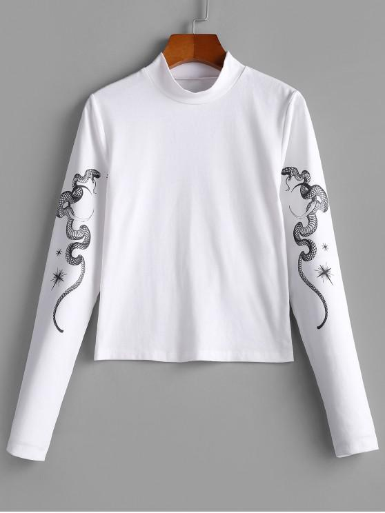 ladies ZAFUL Mock Neck Snake Print T-shirt - WHITE S