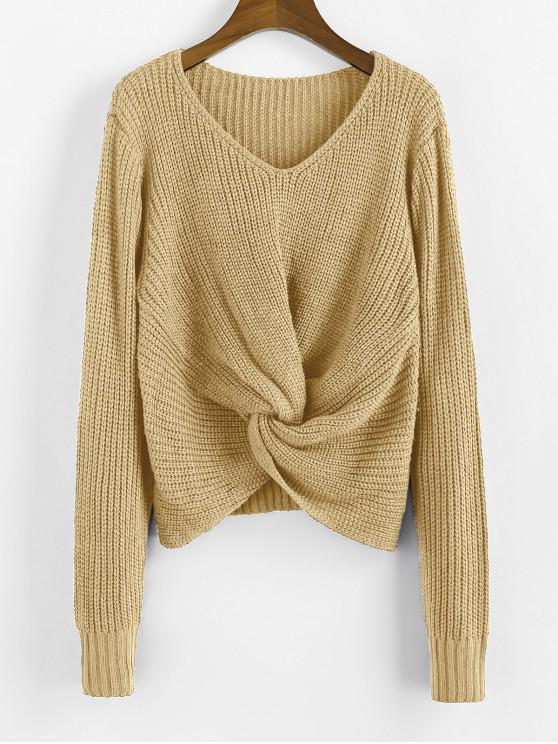 ladies Twist V Neck Pullover Sweater - TAN L