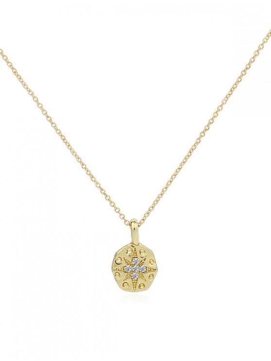 shop Rhinestone Hexagon Pendant Chain Necklace - GOLD
