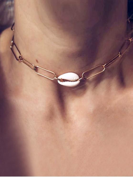 Collar de Concha Enlace breve Cadena - Oro