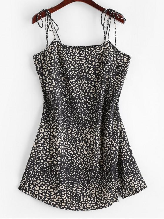 shop ZAFUL Leoaprd Print Slit Mini Cami Dress - BLACK L