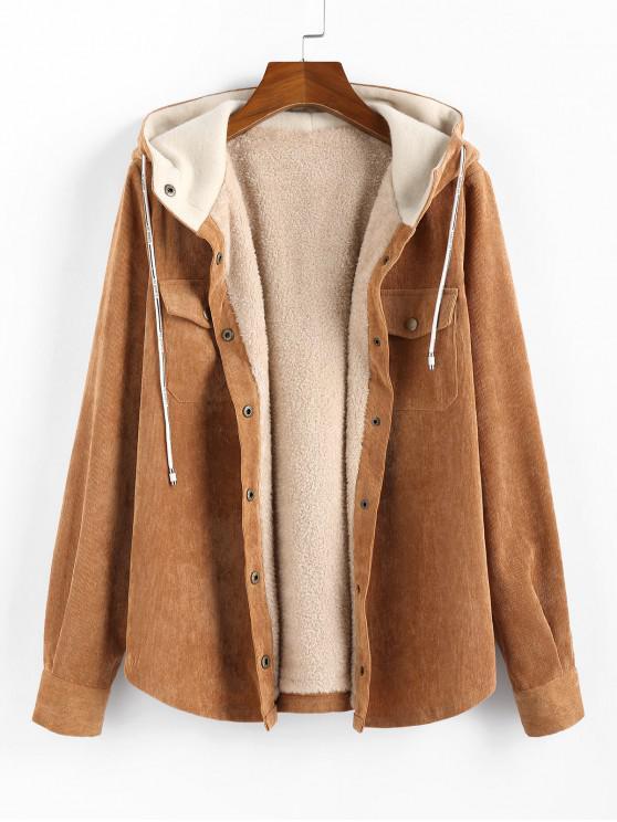 women's Corduroy Hooded Fleece Lining Jacket - BROWN M