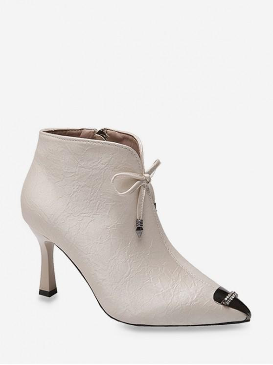 buy Bowknot Rhinestone Pointed Toe Ankle Boots - WHITE EU 39