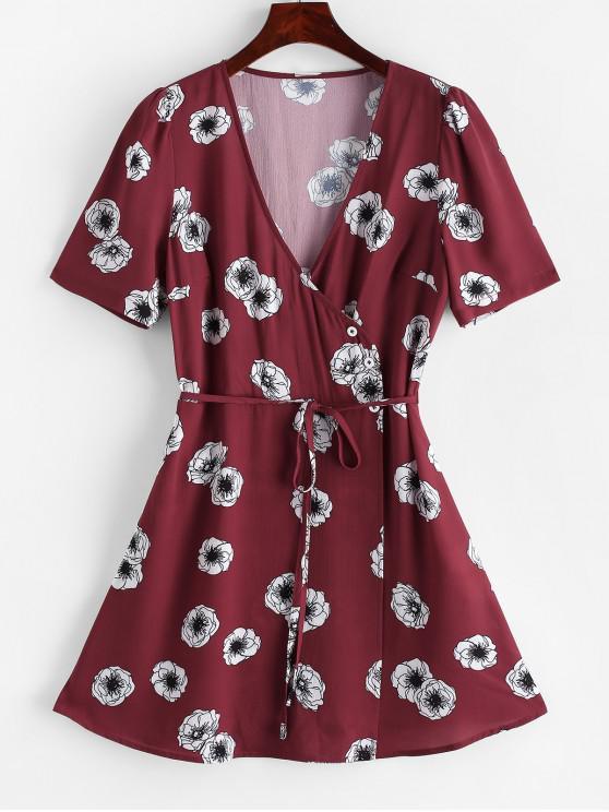 fashion ZAFUL Flower Surplice Overlap String Belted Dress - MULTI S