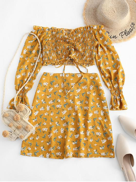 fancy ZAFUL Floral Smocked Cinched Ruffle Cuff Two Piece Set - YELLOW S