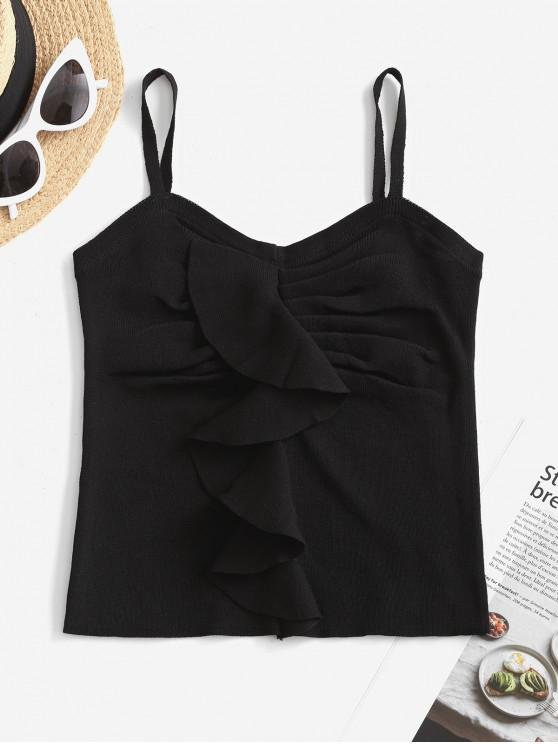 fashion Pleated Ruffled Cami Knitted Top - BLACK ONE SIZE