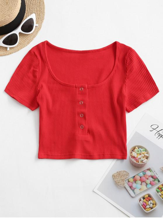 buy Ribbed Snap Button Placket Crop Tee - RED L