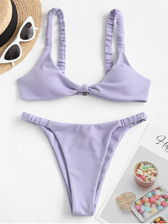 unique ZAFUL Knot Elastic Strap Ribbed Bikini Swimsuit - LAVENDER BLUE L