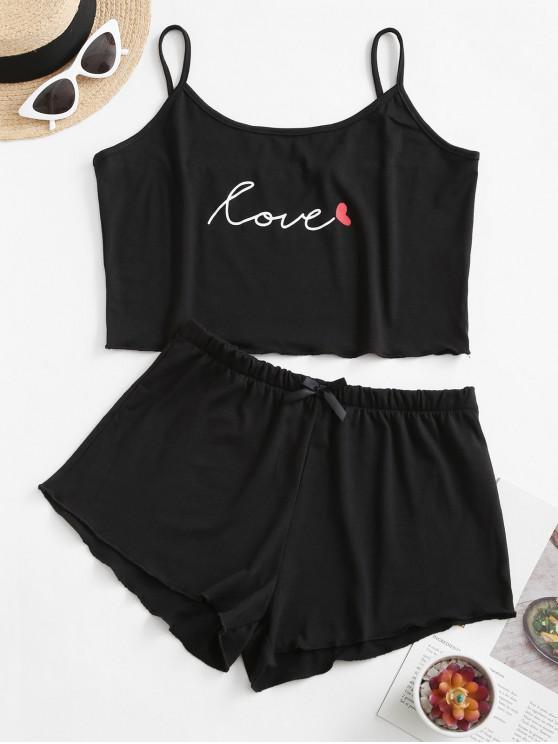 women's Graphic Bowknot Cami Pajamas Set - BLACK XL
