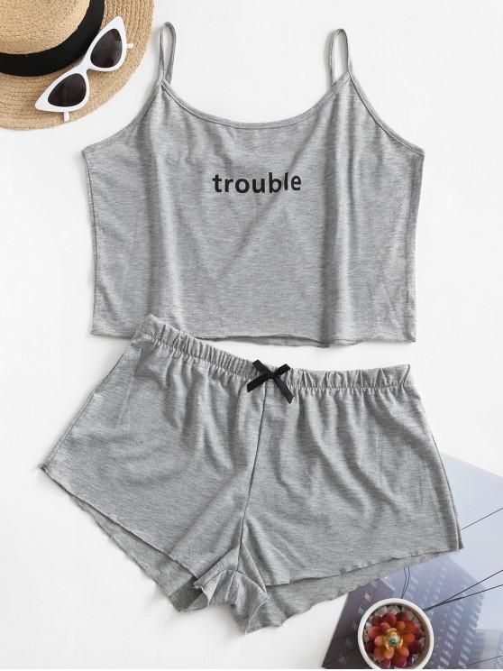 lady Graphic Bowknot Cami Pajamas Set - GRAY L