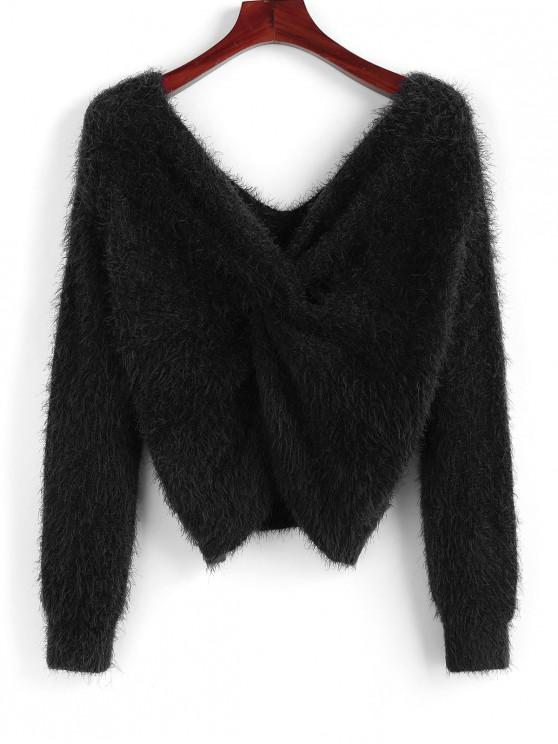 latest ZAFUL Twisted Plunging Fuzzy Sweater - BLACK M