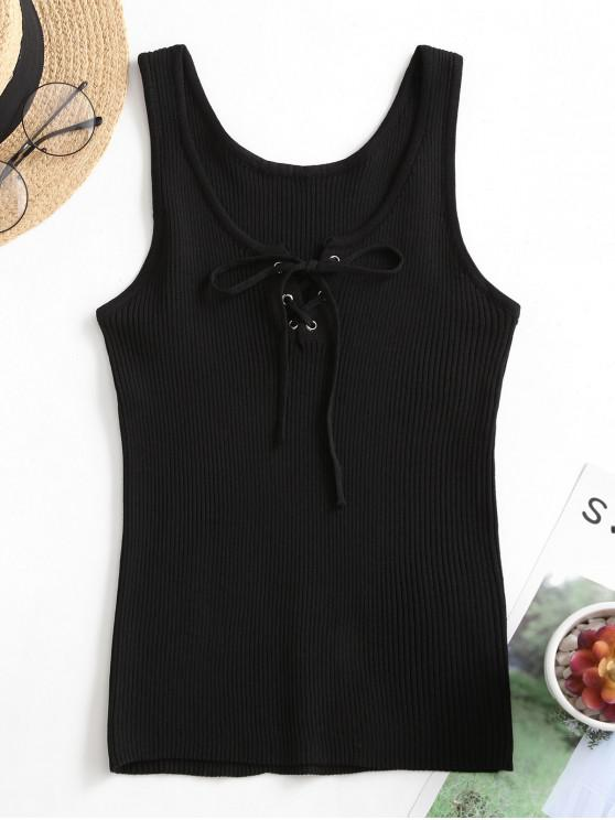buy Ribbed Lace Up Basic Tank Top - BLACK ONE SIZE