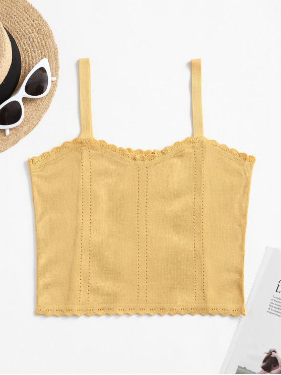 chic Pointelle Knit Scalloped Cami Top - YELLOW ONE SIZE
