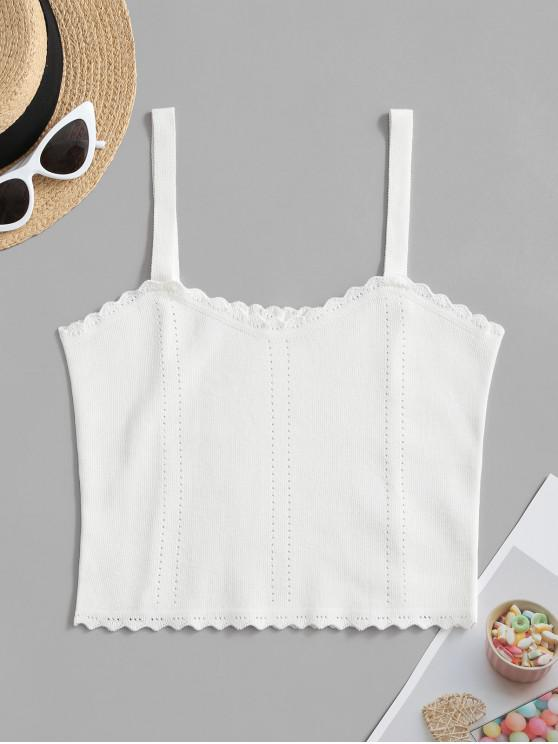 sale Pointelle Knit Scalloped Cami Top - WHITE ONE SIZE