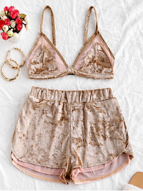 fashion Mesh Insert Velvet Slit Shorts Set - TAN M