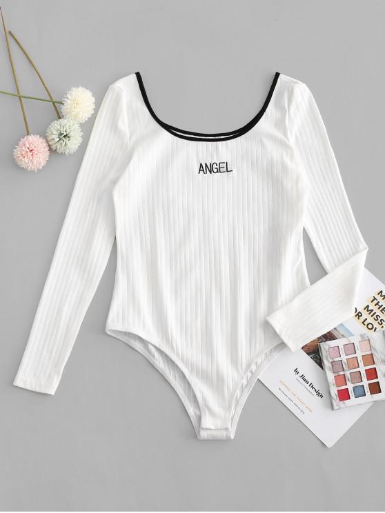 women ZAFUL Letter Embroidered Ringer Bodysuit - WHITE S