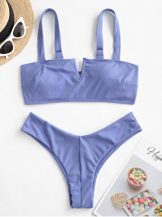 ZAFUL V-السلكية مضلع العليا الساق بيكيني ملابس السباحة - لائحة الأزرق S