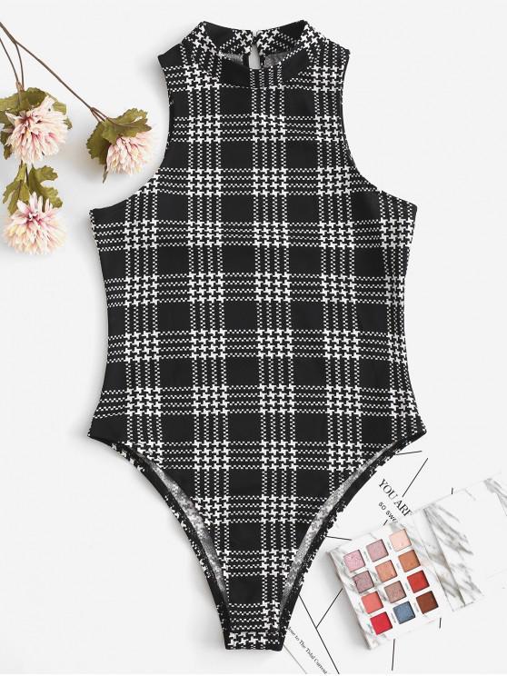 hot ZAFUL Plaid Sleeveless High Cut Bodysuit - MULTI S