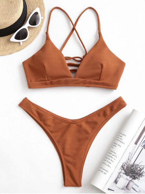 ZAFUL strutturato Lace-up Veduta Leg Bikini Swimsuit - Ruggine S