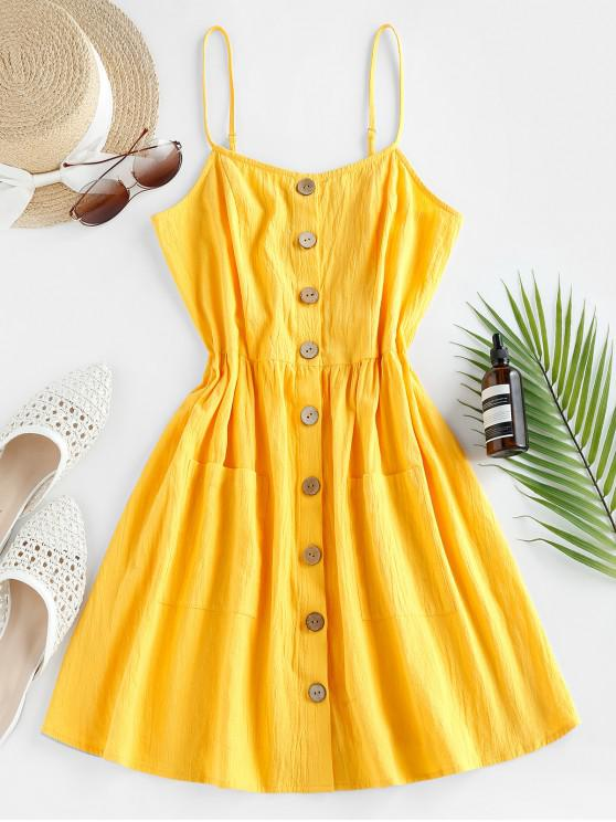 trendy ZAFUL Button Up Shirred Cami Pocket Dress - SUN YELLOW M