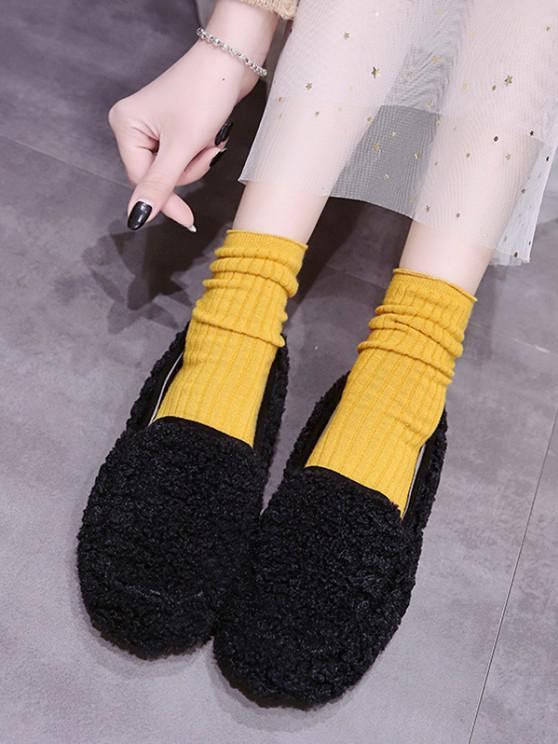 ladies Casual Solid Color Fuzzy Slip On Shoes - BLACK EU 37