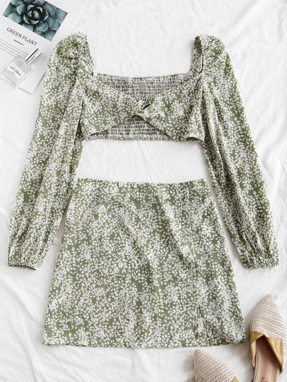 trendy ZAFUL Twist Shirred Leaf Print Two Piece Dress - LIGHT GREEN M