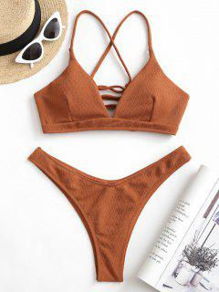 ZAFUL Textured Lace-up High Leg Bikini Swimsuit - Rust S