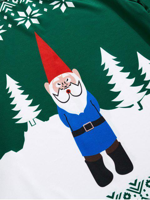 Navidad de Santa del copo de nieve 3D de impresión de manga larga camiseta - Mar Verde Mediana XS Mobile