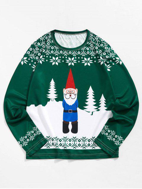 Navidad de Santa del copo de nieve 3D de impresión de manga larga camiseta - Mar Verde Mediana S Mobile
