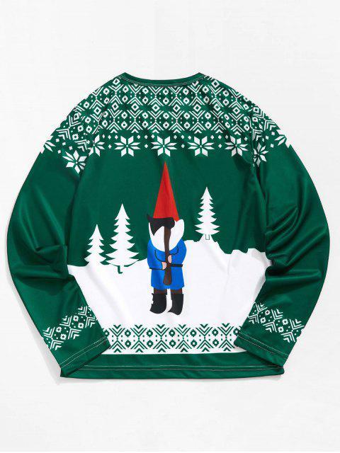 T-shirt 3D Père Noël et Flocon de Beige Imprimés à Manches Longues - Vert Mer Moyen M Mobile