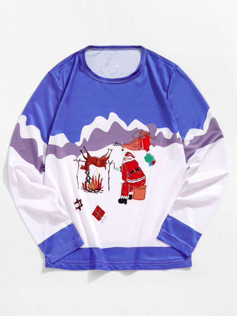 Manga de Navidad de Santa Elk larga Camiseta gráfica - Azul Océano  S Mobile