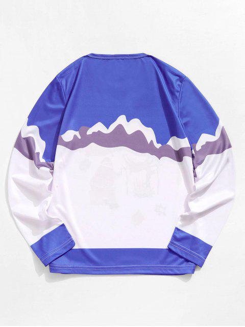 聖誕老人麋鹿圖形長袖T卹 - 海藍色 M Mobile