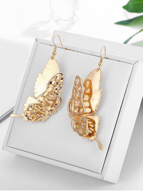 Металл Бабочка Ажурные Серьги - Золотой  Mobile