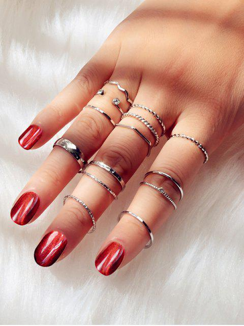 trendy 14Pcs Brief Twist Alloy Ring Set - SILVER  Mobile