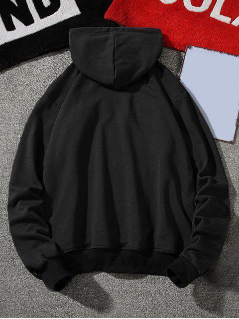 Carta bordado gráfico con capucha con cordón - Negro 3XL Mobile