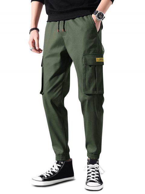 hot Letter Print Applique Drawstring Cargo Jogger Pants - HAZEL GREEN S Mobile